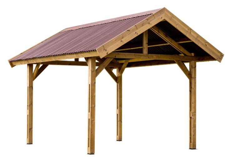 carport en bois traité haute température toiture double pente 30°