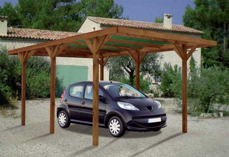 Carport Bois Enzo 1 Voiture Teinté Marron (3x5,1x2,33)
