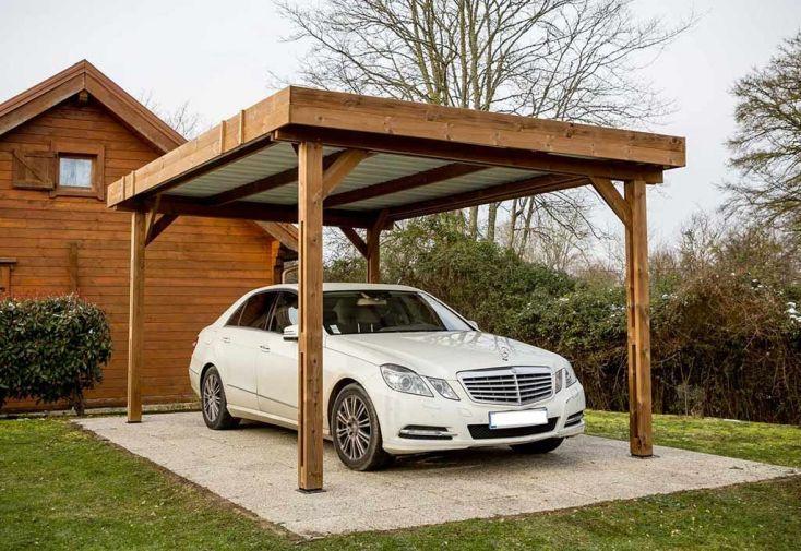 carport en bois traité haute température avec couverture bac acier