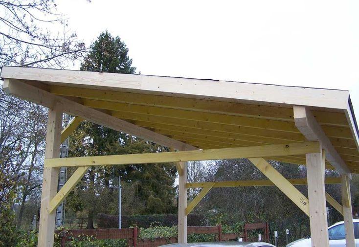 carport bois toit 1 pente bardeaux bitum s 5 x 3 m habrita. Black Bedroom Furniture Sets. Home Design Ideas