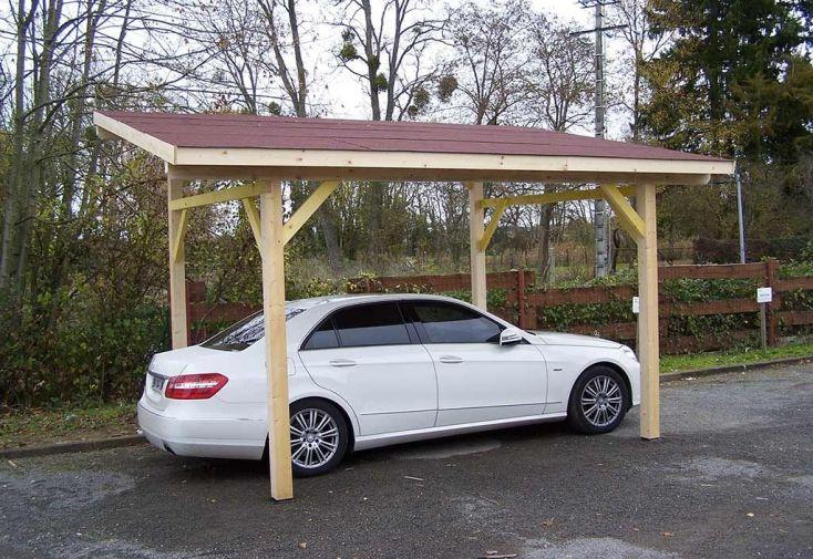 carport en bois avec couverture bardeaux bitumés rouge toiture une pente