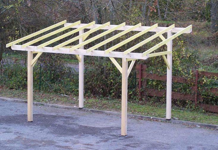 carport en bois une pente avec préparation couverture légère 5 x 3 m