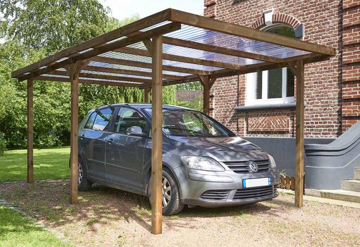 Carport en Bois de Pin Traité et Polycarbonate Abri pour Voiture Forest Style Teddy 15 m²