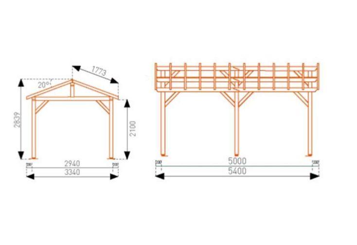 Carport Bois Vercors Autoclave CL 3 (5,40x3,34x2,84)