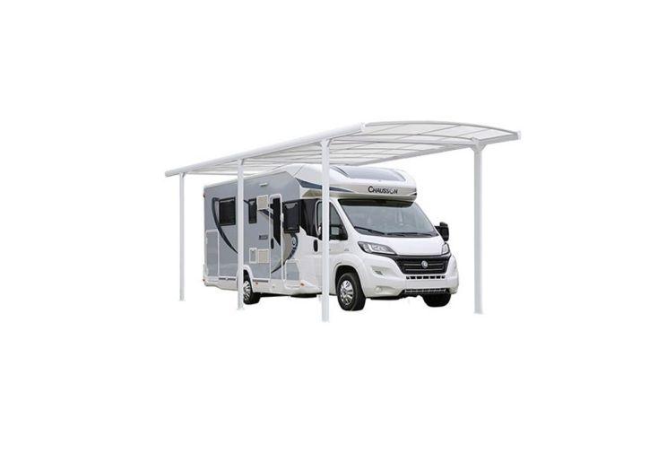 carport pour camping car ou fourgon 760 x 362 cm en aluminium et polycarbonate