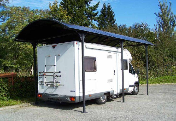 Carport Camping-Car Aluminium et Polycarbonate (760x362x360cm)