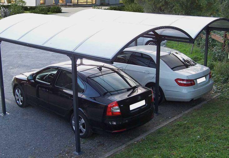 Carport Métal Double à Toit Rond en Polycarbonate 600x485x250cm (l,l,h)