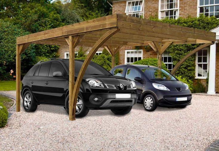Carport en bois traité autoclave deux voitures 6 x 5 m Harold Madeira