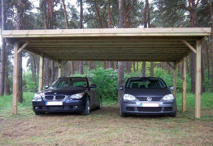 Carport Double en Bois d'Épicéa Traité et Fibre de Verre 25 m² Gardenas