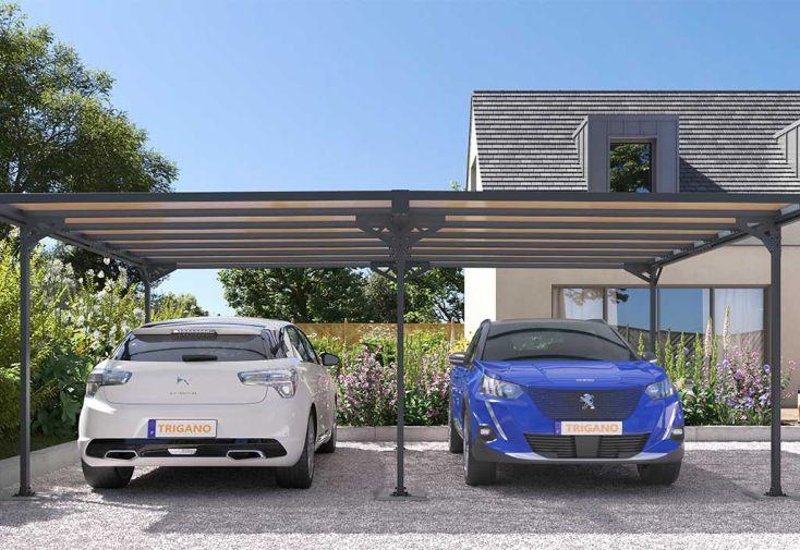 Abri pour Voitures Carport en Aluminium et Polycarbonate Trigano Mistral 30 m²