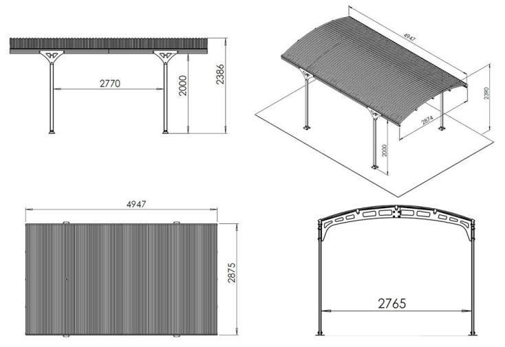 Carport Aluminium et Polycarbonate Hispano (495x287x239cm)
