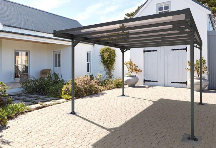 Carport autoportant en aluminium et polycarbonate 14,80 m2