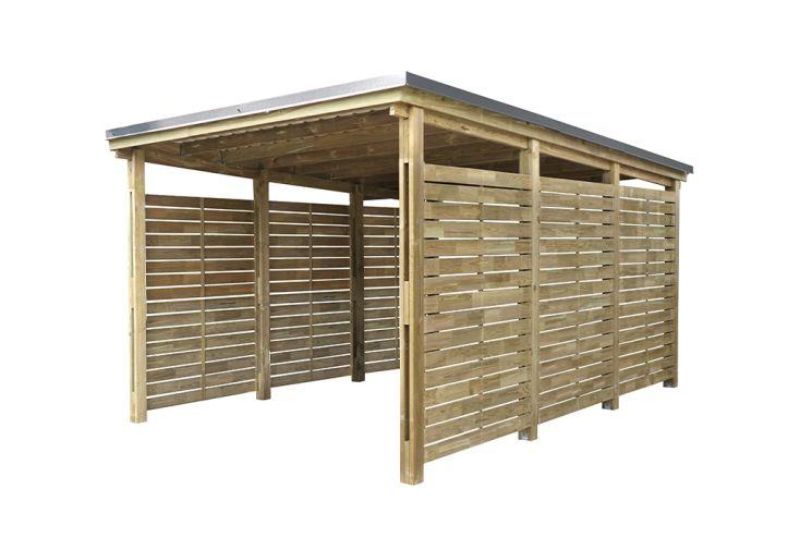 Carport en bois pour une voiture surface 19,58 m²