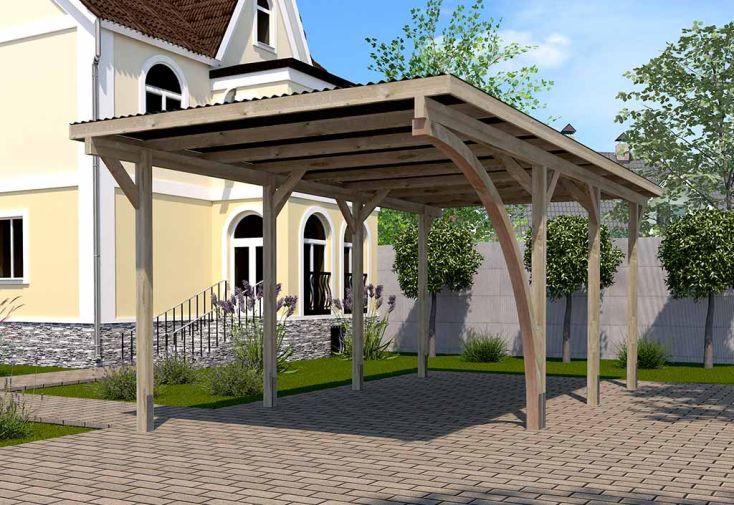 Carport Simple en Bois de Pin Traité et PVC avec Arc 606 A T2 Weka 18 m²