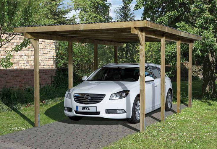 Carport Simple en Bois de Pin Traité et PVC 606 T2 Weka 18 m²