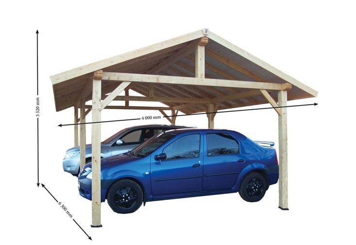 carport bois contrecoll double pente 30 avec feutre bitum 3 5x6m habrita. Black Bedroom Furniture Sets. Home Design Ideas