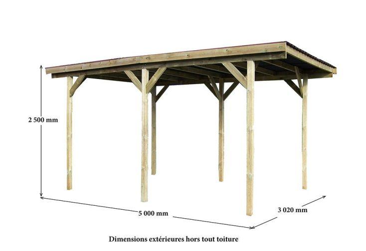 Carport Bois Traité Toit Plat Gros Poteaux 3x5m