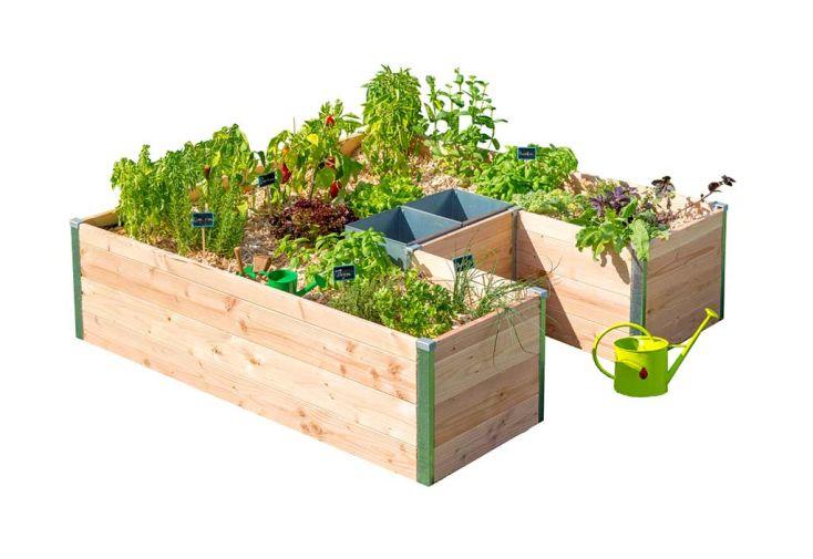 grand carré potager jardinière en bois + composteur