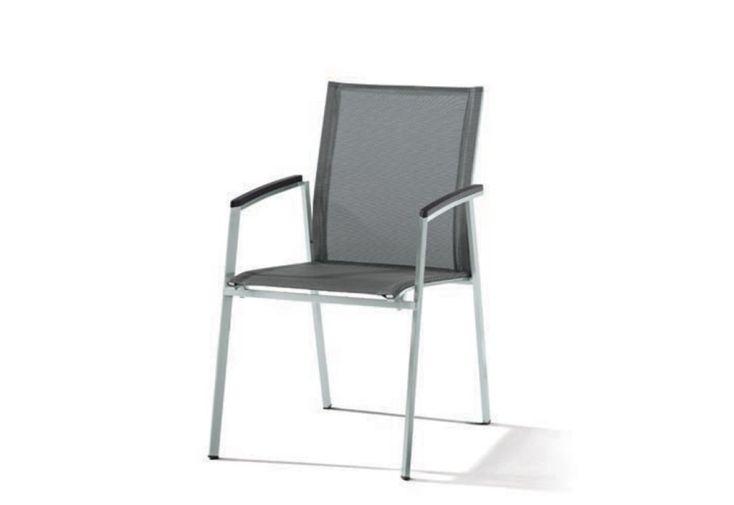 Chaise de Jardin Inox et Textilux Empilable Porto Noir Argenté (lot de 6)