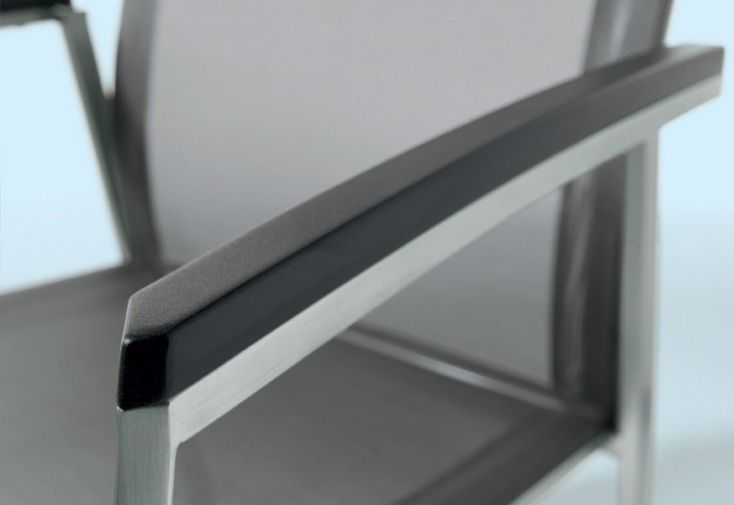 Chaise de Jardin Inox et Textilux Empilable Porto Noir (lot de 6)