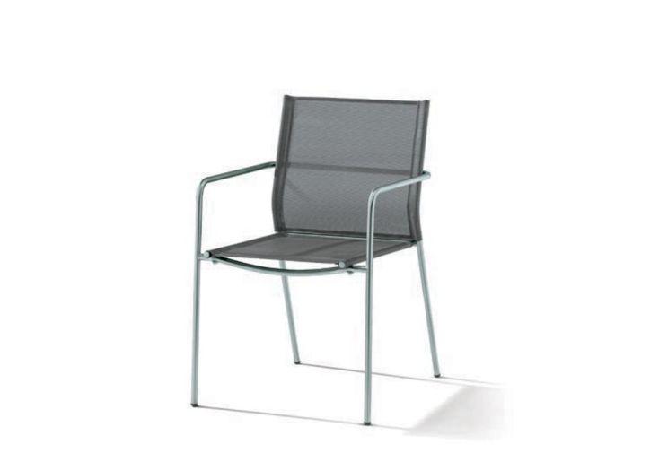 Chaise de Jardin Inox et Textilux Empilable Vigo Noir Argenté (lot de 6)