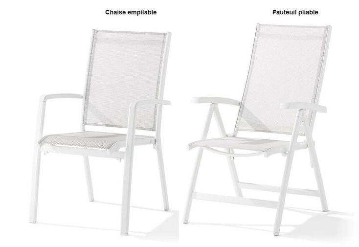 chaise aluminium et textilux