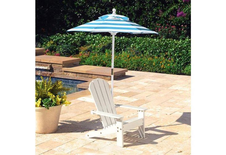fauteuil bois adirondack pour enfant peint en blanc + parasol turquoise