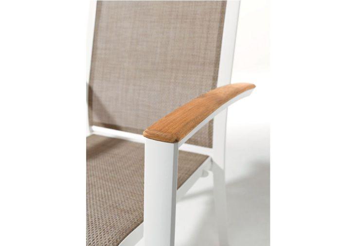 Chaise de Jardin Alu et Teck Empilable Catena Blanc (lot de 6)