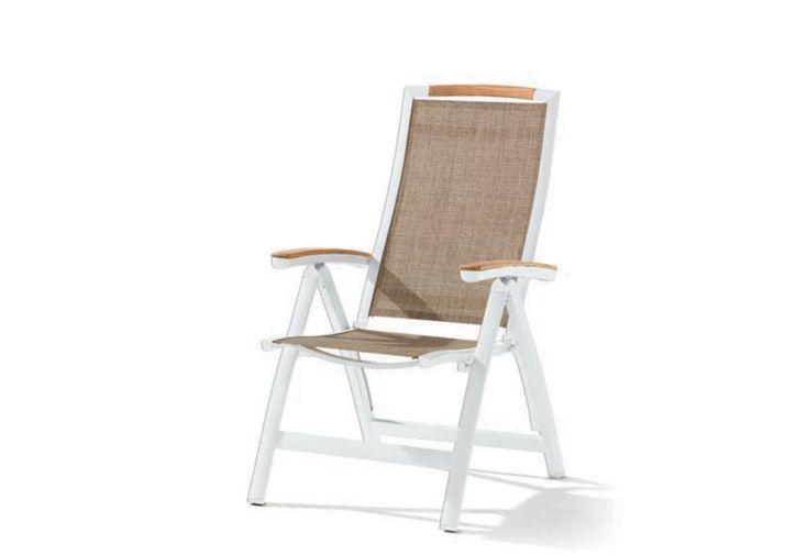 Chaise de Jardin Alu et Teck Pliable 6 Positions Catena Blanc (lot de 6)