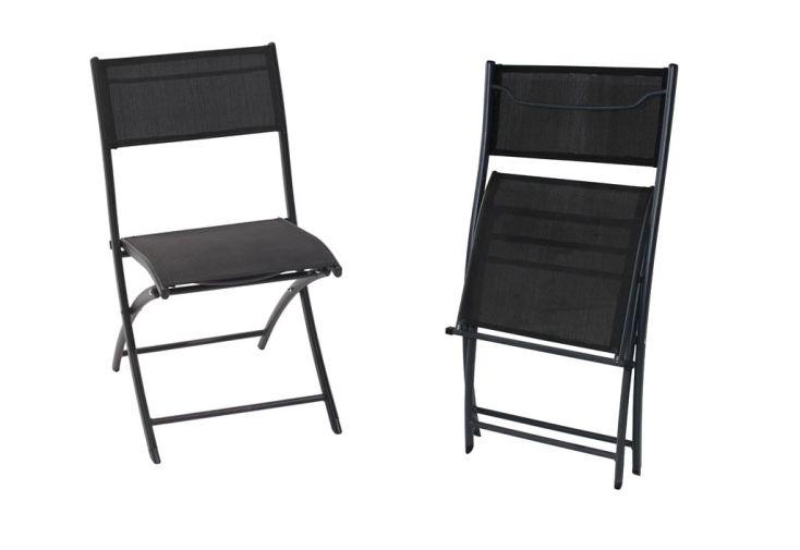 Chaise de Jardin Textilène Pliante Noire