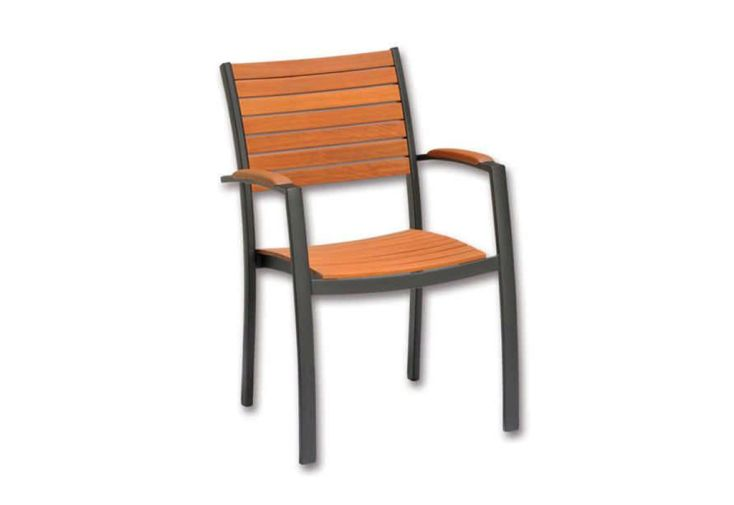 Chaise d'Extérieur en Bois d'Eucalyptus et Aluminium Mountfleld Flamingo