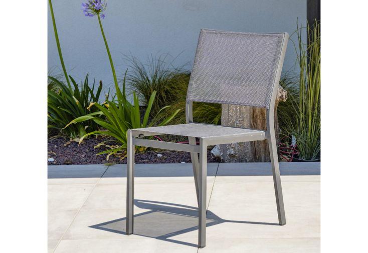 Chaise de Jardin Empilable en Aluminium et Textilène DCB Garden Stockholm