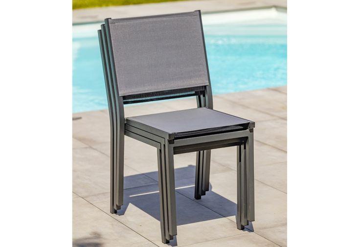 chaise de jardin empilable en aluminium et textilene tolede anthracite