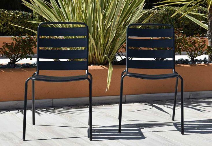 Chaise de jardin empilable en métal galvanisé noir Givex Zelie