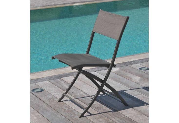 Chaise d'Extérieur en Aluminium et Textilène DCB Garden