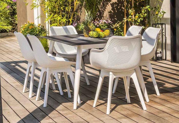 Chaise de Jardin Scandi PVC Perforé Blanc