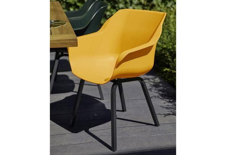 Chaise de jardin résine et aluminium Hartman Sophie Element Armchair orange