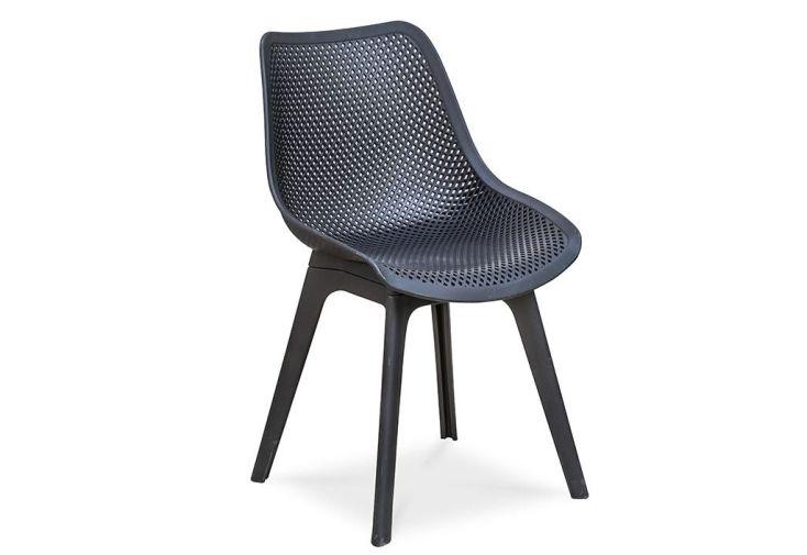 chaise de jardin noire en PVC perforé moderne