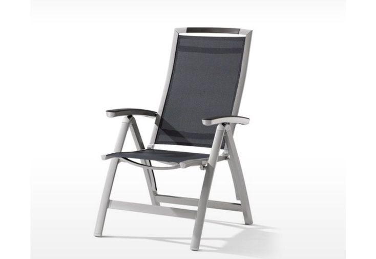 chaise de jardin pliable en aluminium et textilène gris