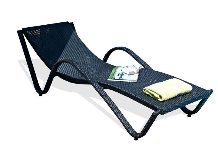 Chaise longue aluminium et résine tressée Liberté noir