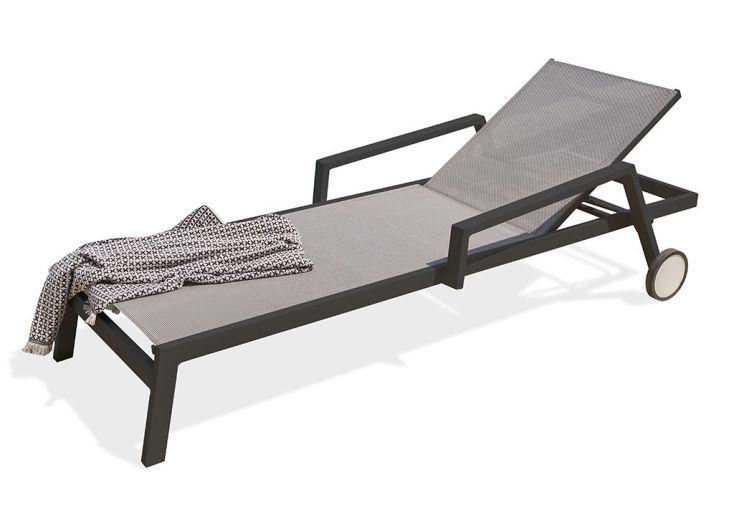 Chaise longue en aluminium noir