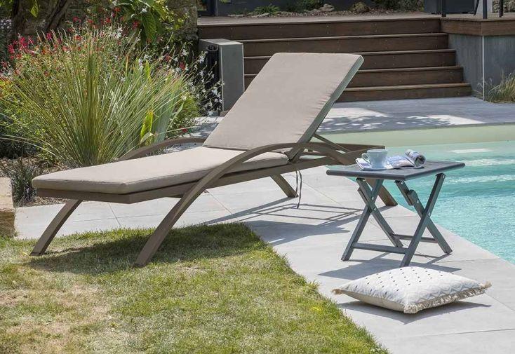 Bain De Soleil 2 M Avec Coussin Disponible En Plusieurs Couleurs Chaise Longue Aluminium Gris Anthracite