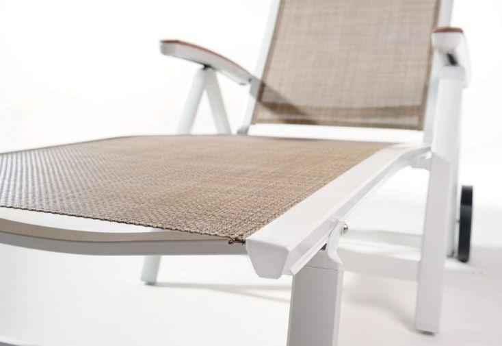 Bain de Soleil Alu, Teck et Textilux Catena Blanc (lot de 2)