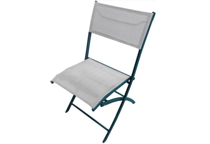 Chaise de Jardin Textilène Pliante Grise