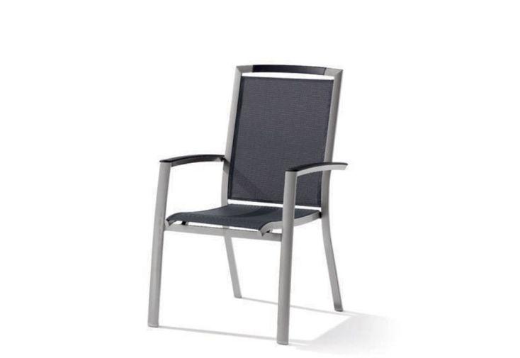 Chaise de Jardin Alu et Textilux Empilable Trento Gris Graphite (lot de 6)