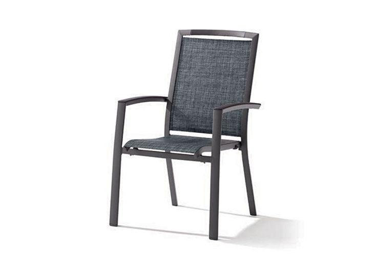 Chaise de Jardin Alu et Textilux Empilable Trento Gris (lot de 6)