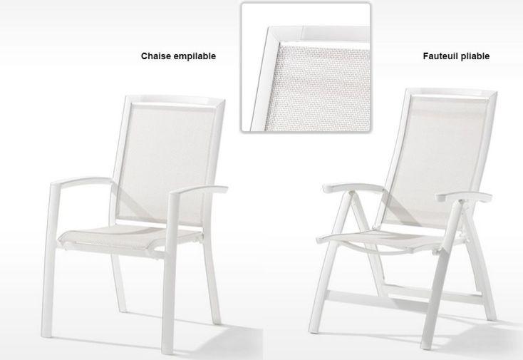 Chaise en Aluminium et Textilux pliable empilable