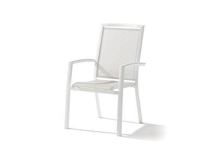 Chaise de Jardin Alu et Textilux Empilable Trento Blanc (lot de 6)