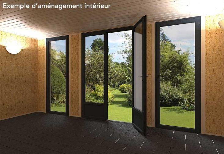 Chalet en Bois Habitable Isolé 90 mm Double Vitrage Toit Plat 15 m² ...