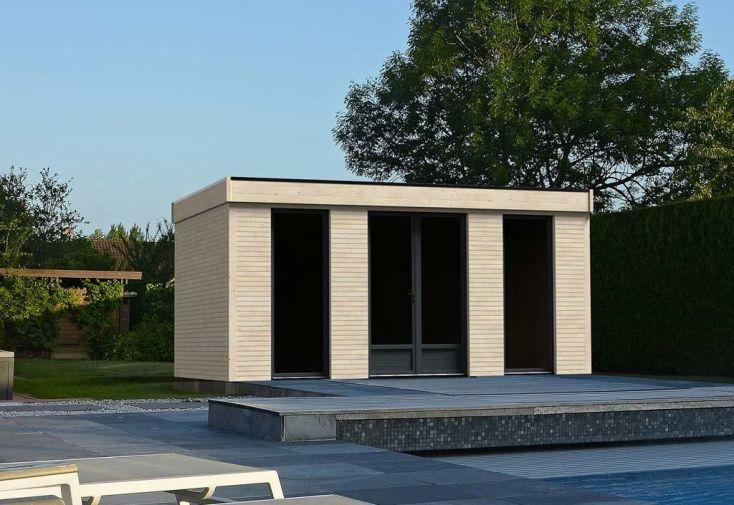 Chalet en Bois Habitable Isolé 90 mm Double Vitrage Toit Plat 21 m² ...
